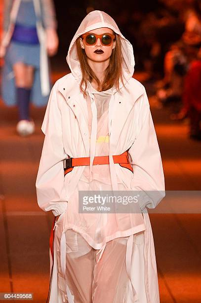 Model Adrienne Jueliger walks the runway at DKNY Women's Fashion Show during New York Fashion Week at High Line on September 12 2016 in New York City