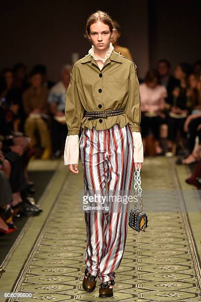 Model Adrienne Jueliger walks the runway at the Burberry Prorsum September 2016 fashion show during London Fashion Week on September 19 2016 in...