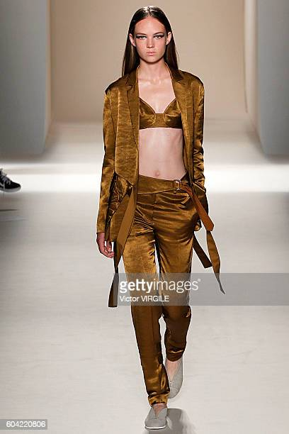 Model Adrienne Jueliger walks the runway at the Victoria Beckham Ready to Wear Spring Summer Ready to Wear 2017 Women's Fashion Show during New York...