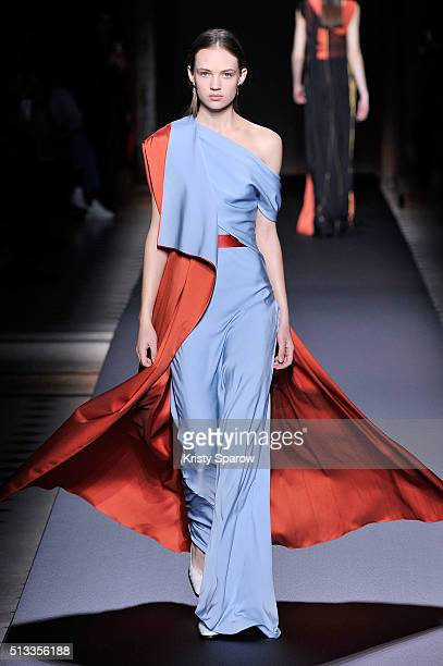 Model Adrienne Jueliger walks the runway during the Vionnet show as part of Paris Fashion Week Womenswear Fall/Winter 2016/2017 on March 2, 2016 in...