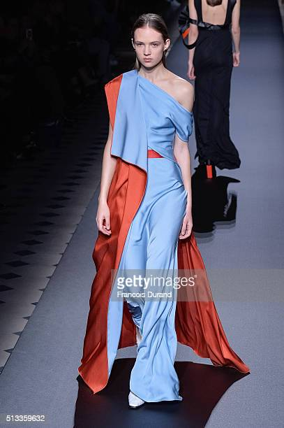 Model Adrienne Jueliger walks the runway during the Vionnet show as part of the Paris Fashion Week Womenswear Fall/Winter 2016/2017 on March 2 2016...