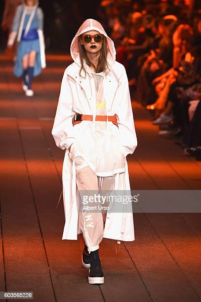 Model Adrienne Jueliger walks the runway for the DKNY Women fashion show during New York Fashion Week The Shows September 2016 at High Line on...