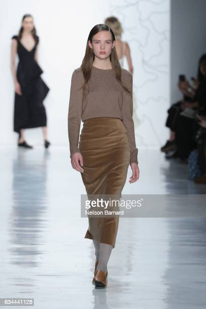 Model Adrienne Jueliger walks the runway for the Noon By Noor fashion show during New York Fashion Week The Shows at Gallery 3 Skylight Clarkson Sq...