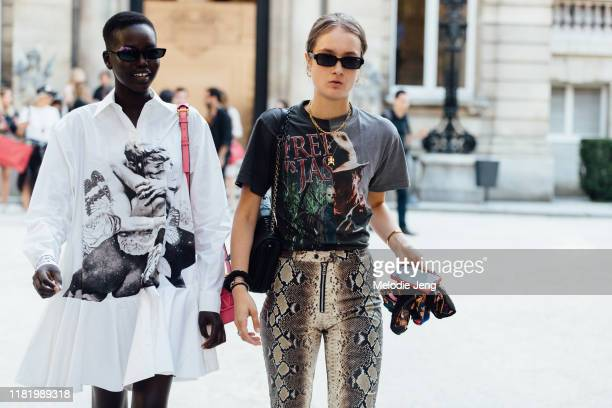 Model Adut Akech and agent Liza Barlow after the Valentino show during Couture Fashion Week Fall/Winter 2019 on July 03, 2019 in Paris, France. Adut...