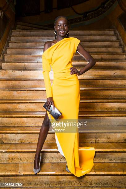 SYDNEY NSW Model Adut Akech poses during the Australian Fashion Laureate at the State Theatre in Sydney New South Wales