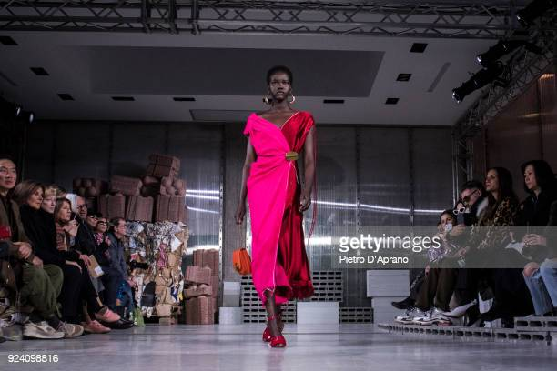 Model Adut Akech walks the runway at the Marni show during Milan Fashion Week Fall/Winter 2018/19 on February 25 2018 in Milan Italy