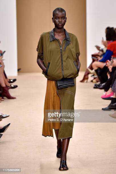 Model Adut Akech walks the runway at the Tod's show during the Milan Fashion Week Spring/Summer 2020 on September 20, 2019 in Milan, Italy.