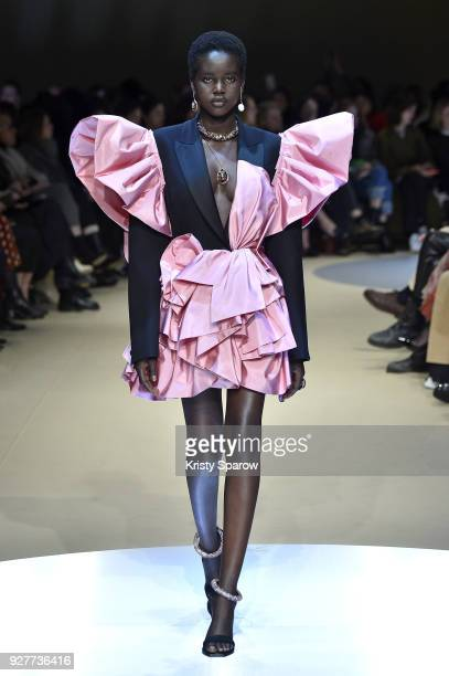 Model Adut Akech walks the runway during the Alexander McQueen show as part of Paris Fashion Week Womenswear Fall/Winter 2018/2019 on March 5 2018 in...