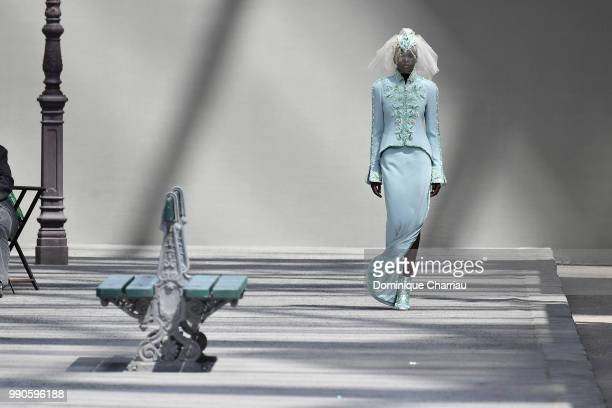 Model Adut Akech walks the runway during the Chanel Haute Couture Fall/Winter 20182019 show as part of Haute Couture Paris Fashion Week on July 3...