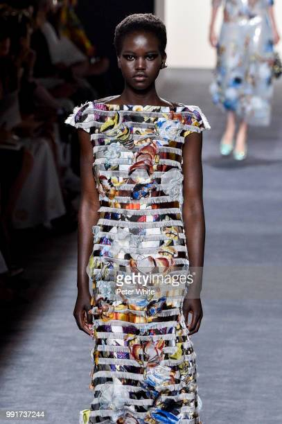 Model Adut Akech walks the runway during the Fendi Couture Haute Couture Fall Winter 2018/2019 show as part of Paris Fashion Week on July 4 2018 in...