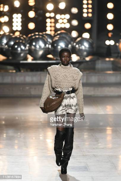 Model Adut Akech walks the runway during the Isabel Marant show as part of the Paris Fashion Week Womenswear Fall/Winter 2019/2020 on February 28,...