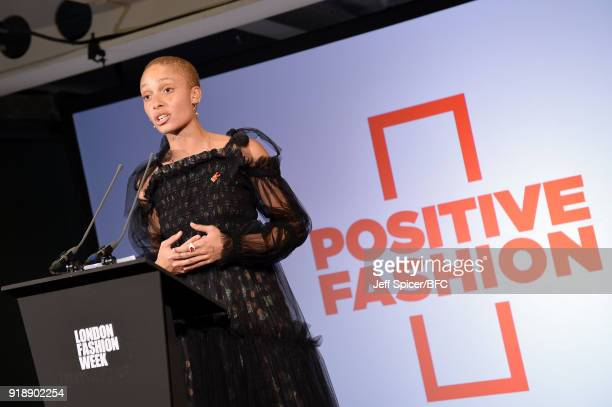 Model Adwoa Aboah attends the LFW Press Conference during London Fashion Week February 2018 on February 16 2018 in London England