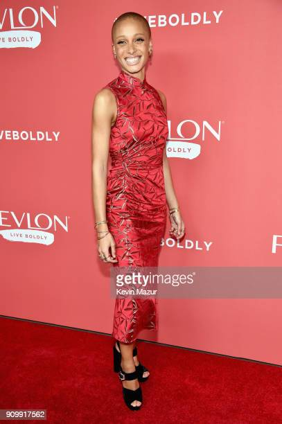 Model Adwoa Aboah attends the Revlon Live Boldly launch event at Skylight Modern on January 24 2018 in New York City