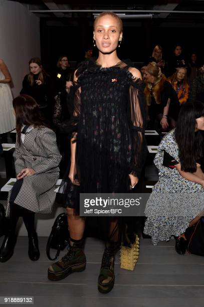 Model Adwoa Aboah attends the Richard Malone show during London Fashion Week February 2018 at 180 The Strand on February 16 2018 in London England