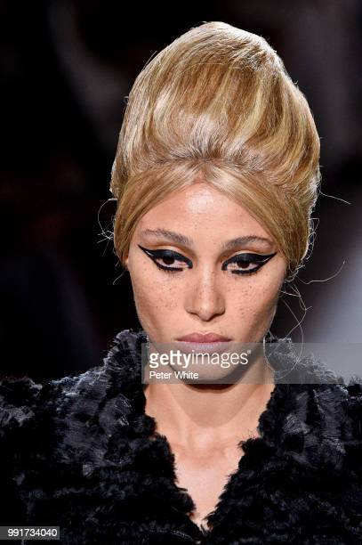 Model Adwoa Aboah beauty runway detail walks the runway during the Fendi Couture Haute Couture Fall Winter 2018/2019 show as part of Paris Fashion...