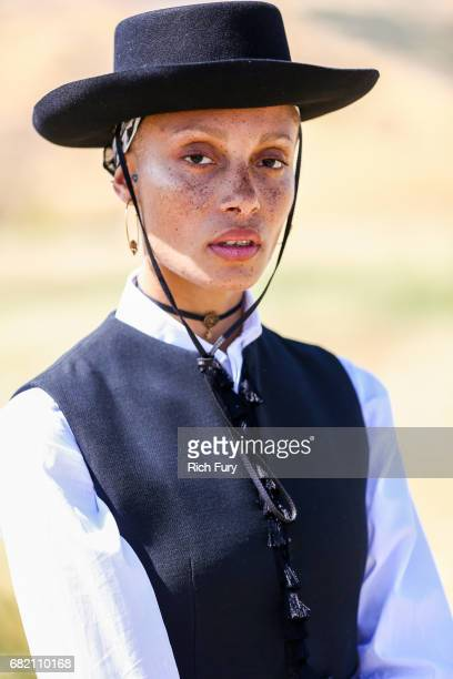 Model Adwoa Aboah poses before the Christian Dior Cruise 2018 Runway Show at the Upper Las Virgenes Canyon Open Space Preserve on May 11 2017 in...