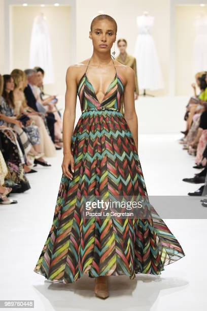 Model Adwoa Aboah walks the runway during the Christian Dior Haute Couture Fall Winter 2018/2019 show as part of Paris Fashion Week on July 2 2018 in...