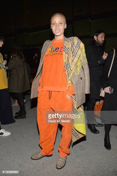 Model Adwoa Aboah wearing Burberry at the Burberry February 2018 show during London Fashion Week at Dimco Buildings on February 17 2018 in London...