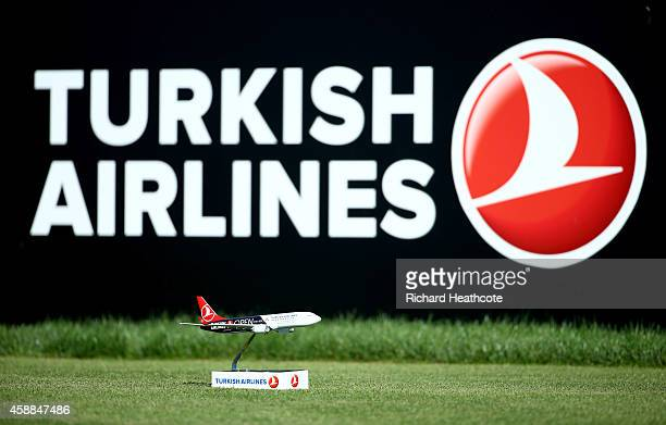 A model aeroplane used as a tee marker during the proam for the Turkish Airlines Open at The Montgomerie Maxx Royal on November 12 2014 in Antalya...