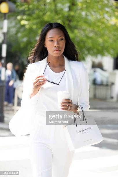 Model Afiya Bennett from US modeling competition series The Face seen shopping in Westbourne Grove Notting Hill on May 4 2018 in London England