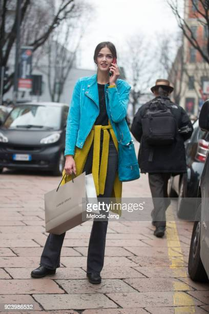 A model after Armani during Milan Fashion Week Fall/Winter 2018/19 on February 24 2018 in Milan Italy