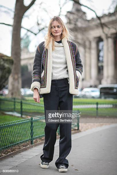A model after the Chanel show during Paris Fashion Week Haute Couture Spring Summer 2016 on January 26 2016 in Paris France