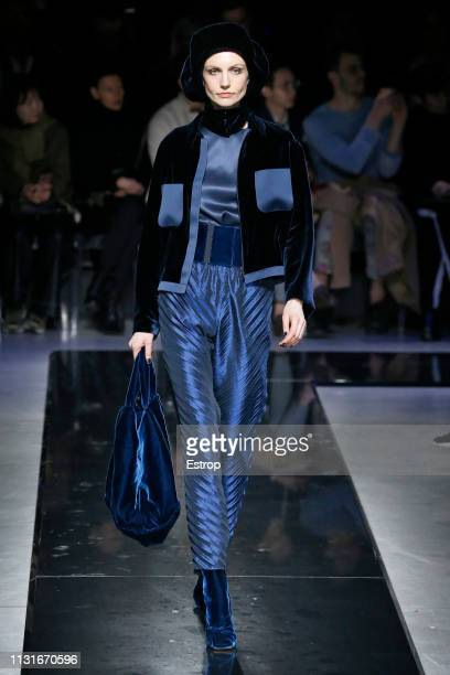 Model Agnese Zogla walks the runway at the Giorgio Armani show at Milan Fashion Week Autumn/Winter 2019/20 on February 20 2019 in Milan Italy