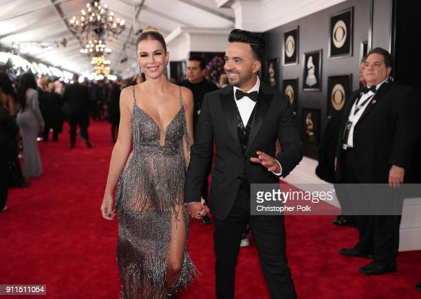Model Agueda Lopez and recording artist Luis Fonsi attend the 60th Annual GRAMMY Awards at Madison Square Garden on January 28 2018 in New York City