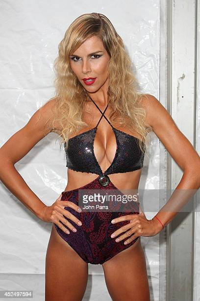 Model Agueda Lopez poses backstage at the AZ Araujo show during MercedesBenz Fashion Week Swim 2015 The Raleigh Hotel on July 21 2014 in Miami Beach...