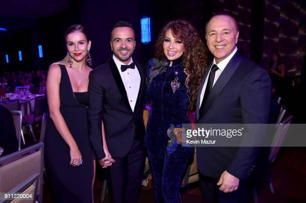 Model Agueda Lopez recording artist Luis Fonsi recording artist Thalia and Casablanca Records CoOwner Tommy Mottola attend the Clive Davis and...