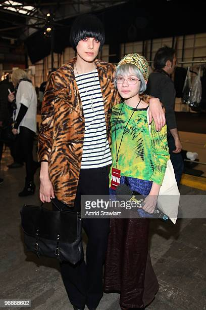 Model Agyness Deyn and fashion blogger Tavi backstage at the Alexander Wang Fall 2010 Fashion Show during Mercedes-Benz Fashion Week at Pier 94 on...