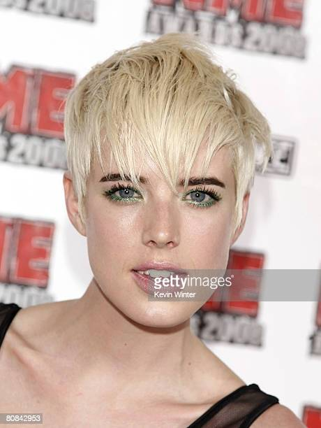 Model Agyness Deyn arrives at the 1st Annual US NME Awards at the El Rey Theater on April 23 2008 in Los Angeles California