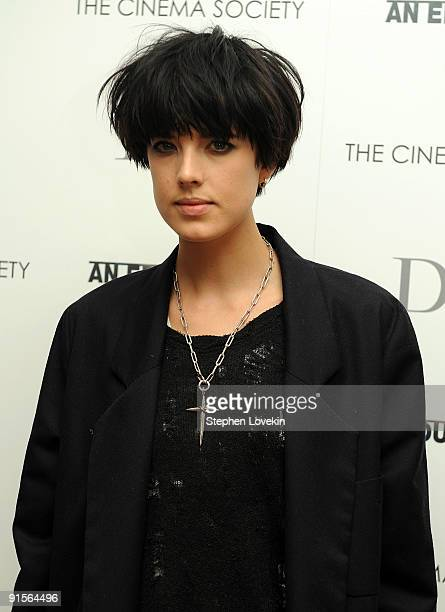 "Model Agyness Deyn attends a screening of ""An Education"" hosted by The Cinema Society and Dior Beauty at the Crosby Street Hotel on October 7, 2009..."