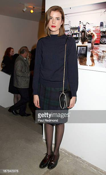 Model Agyness Deyn attends the artists reception for LA Odyssey Debut Show 'Conceptions' by artist trio Flores Gil Mann at Bruce Lurie Gallery on...