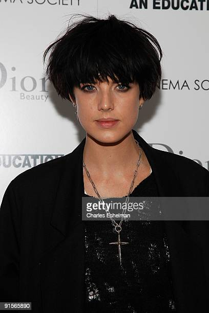 Model Agyness Deyn attends the Cinema Society Dior Beauty/Moet Chandon screening of 'An Education' at the Crosby Street Hotel on October 7 2009 in...