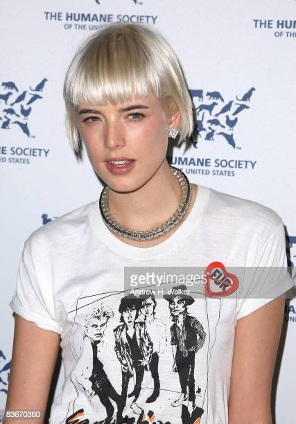 Model Agyness Deyn attends the The Humane Society of the United States 4th annual Cool vs Cruel awards ceremony at Bowery Hotel on November 12 2008...