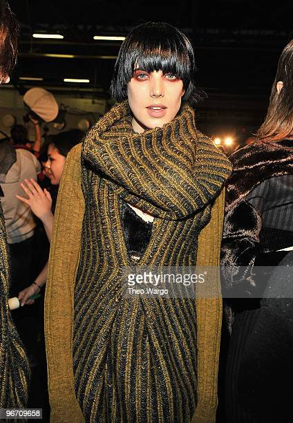 Model Agyness Deyn backstage at Alexander Wang Fall 2010 during Mercedes-Benz Fashion Week at Pier 94 on February 13, 2010 in New York City.
