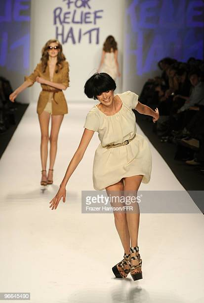 Model Agyness Deyn stumbles while walking the runway at Naomi Campbell's Fashion For Relief Haiti NYC 2010 Fashion Show during MercedesBenz Fashion...