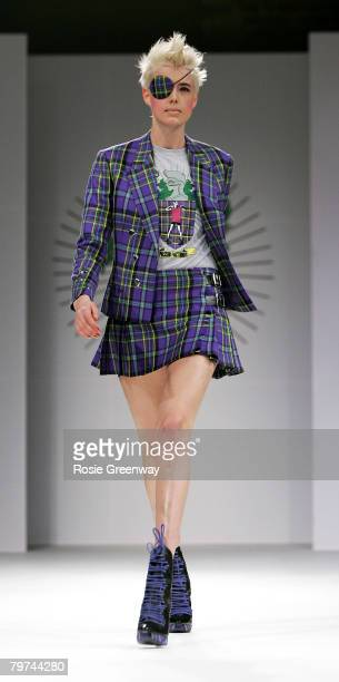 Model Agyness Deyn walks down the runway during the House of Holland LFW Autumn/Winter 2008 show at Village Underground on February 13, 2008 in...