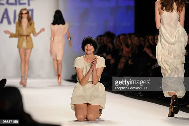 Model Agyness Deyn walks the runway at Naomi Campbell's Fashion For Relief Haiti NYC 2010 Fashion Show during MercedesBenz Fashion Week at The Tent...