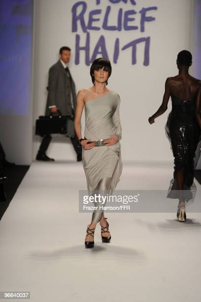 Model Agyness Deyn walks the runway at Naomi Campbell's Fashion For Relief Haiti NYC 2010 Fashion Show during Mercedes-Benz Fashion Week at The Tent...