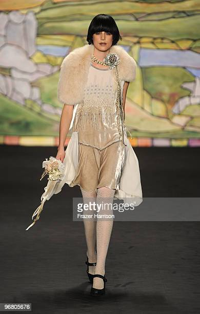 Model Agyness Deyn walks the runway at the Anna Sui Fall 2010 Fashion Show during Mercedes-Benz Fashion Week at The Tent at Bryant Park on February...