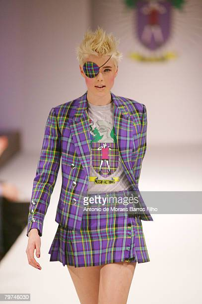 Model Agyness Deyn walks the runway wearing House of Holland Fall 2008 during London Fashion Week on February 13, 2008 in London.