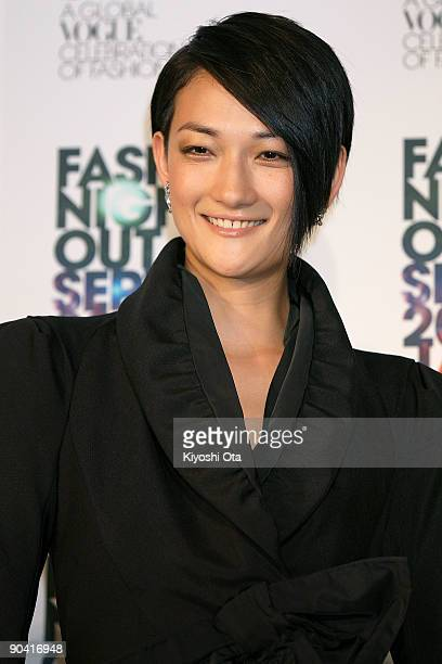 Model Ai Tominaga attends the 'Fashion's Night Out' press conference at Vector Lounge on September 7 2009 in Tokyo Japan More than 200 shops in the...