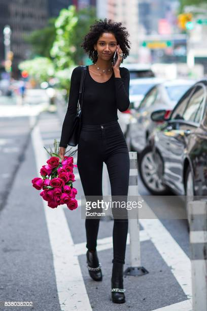 Model Aiden Curtis is seen after being confirmed for the 2017 Victoria's Secret Fashion Show in Midtown on August 23 2017 in New York City