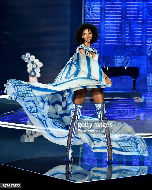 Model Aiden Curtiss walks the runway during the 2017 Victoria's Secret Fashion Show In Shanghai at MercedesBenz Arena on November 20 2017 in Shanghai...