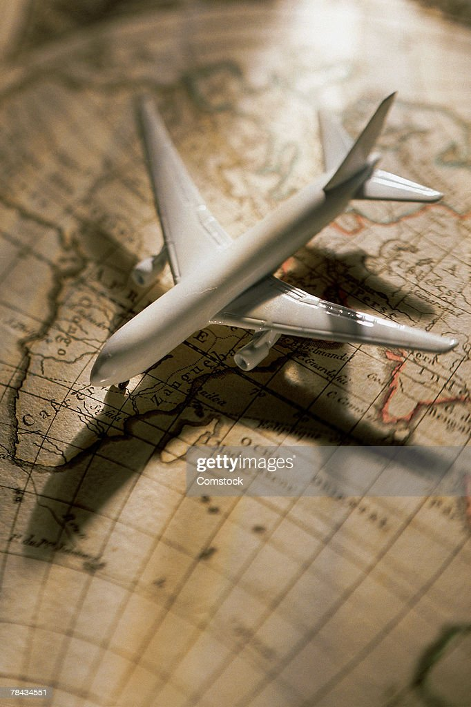 Model airplane on globe : Stockfoto