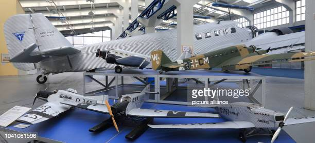 Model airplanes stand in front of a Junkers JU 52 aircraft at the technical musuem Hugo Junkers in Dessau/Rosslau germany 14 february 2013 The museum...