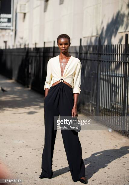 Model Akiima is seen wearing two tone overall outside Dion Lee during New York Fashion Week September 2019 on September 11 2019 in New York City