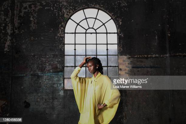 Model Akiima poses during a Australian Fashion Week press conference at Carriageworks on October 16, 2020 in Sydney, Australia. Australian Fashion...